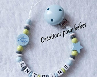 """Wood beads and """"Little Prince boy personalized pacifier clip"""
