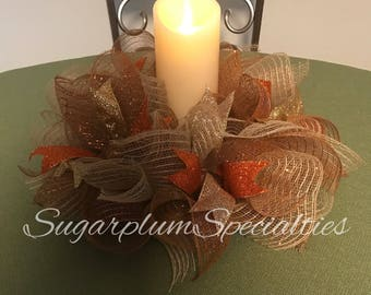 Fall Harvest Deco Mesh Candle Ring/Centerpiece