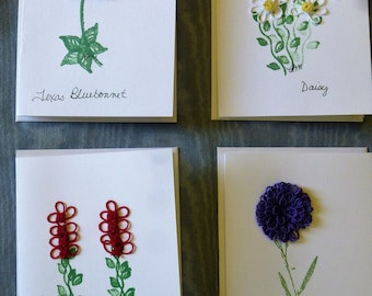 Blank All occasion cards emblished with hand tatted flowers