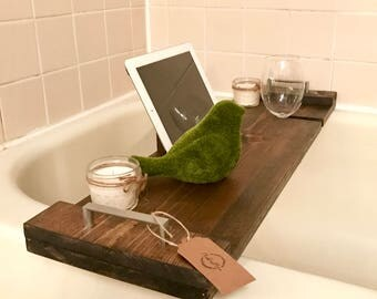 Rustic Wooden Bath Tray - Jacobean Stain
