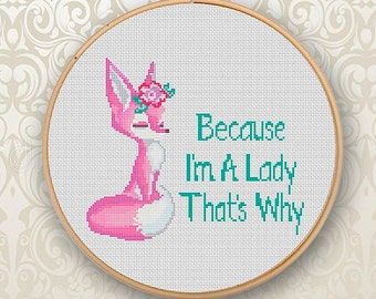 Funny Cross Stitch Pattern Gift For Her Modern Cross Stitch Pattern Fox Cross Stitch Flowers Cross Stitch Pattern PDF Counted Cross Stitch