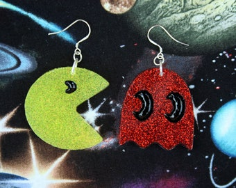 Retro Pacman and Ghost Glitter Earrings