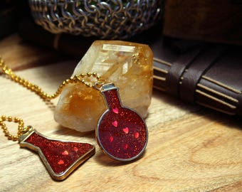 Glitter Health Potion Resin Necklace