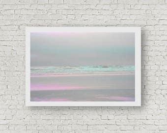 Pastel Beach print, beach decor, beach print, pink print, wave art, pastel art, nature photography, nature art, landscape art, teal art