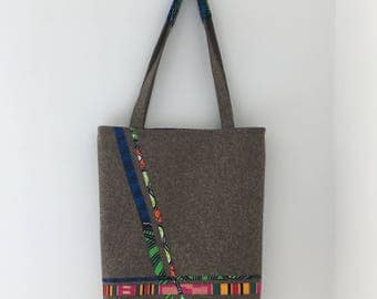 Reversible Tote Bag in Ankara & Felt #3