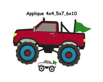 Monster Truck Applique Design - 4x4,5x7,6x10 instant download
