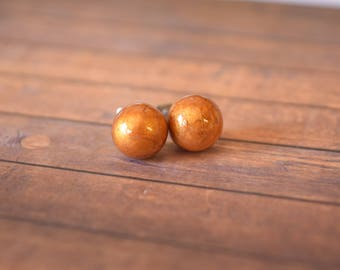 Gold Metallic Resin, Stud, Globe, Earrings.