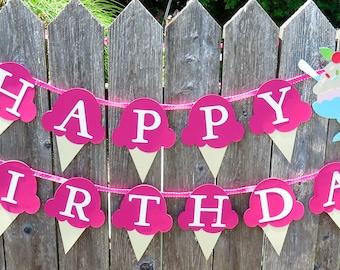 Ice Cream Sundae Banner, Ice Cream Banner, Ice Cream Cone Banner, Ice Cream Party, Idea Cream Birthday, Ice Cream Birthday Banner, Sundae