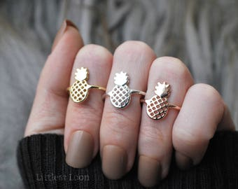 Pineapple Ring Rose Gold, Gold or Silver   Beachy Jewelry   Stacking Rings   Midi Ring   Gift for Women   Gift for Her