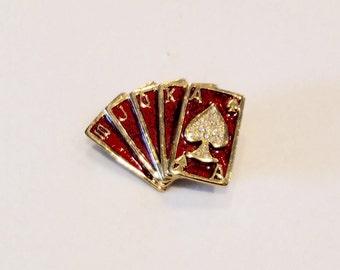 Pin, Brooch, Vintage, Royal Flush, cards