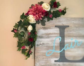 Wedding Garland, Silk Flowers, 2 feet long with greenery, Custom Floral, Bedroom Decor,  Birthday, Collage Dorm Decoration, Swag,