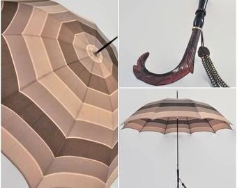 Vintage 1930s Ornate Carved Bakelite Lucite Handle Silk Striped Umbrella Parasol Woven Wrist Chain Classic Umbrella