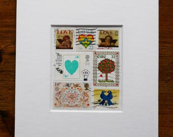 Stamp Collage - a unique one-of-a-kind gift, perfect for Valentine's, a Wedding or Engagement