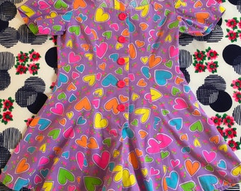 Vintage Kids Little Girl Purple Neon Hearts Roses Print Short Sleeve Romper Dress Shorts Novelty Psychedelic All Over Print Cutesy One Piece
