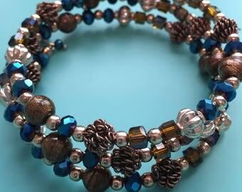 Beaded Wrap Bracelet / Charm Bracelet / Memory Wire Bracelet / Copper Bracelet / Statement Bracelet / Women's Bracelet / Gift For Her /
