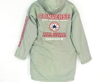 Rare!!Converse USA spellout big logo reflector vintage hoodies long jacket