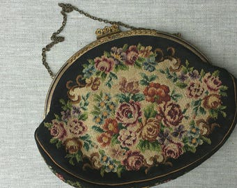 Austrian Needlepoint Black Floral Evening Purse from 1930's.