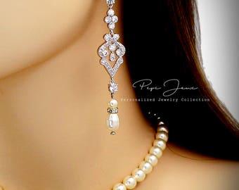 Wedding Earrings Swarovski Pearl Zirconia Earrings Rhinestone Earrings Bridal Earrings Wedding Jewelry Bridal Jewelry Wedding Accessory Ema