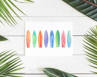 Surfboard Decor, Surfboard Wall Decor, Surfboard Wall Art, Watercolor Surfboard, Printable Wall Art, Surf Art, Downloadable Prints