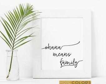 Ohana Means Family, Ohana Means Family Print, Family Sign, Made In Hawaii, Lilo and Stitch, Ohana Wall Art, Hawaiian Print, Home Decor
