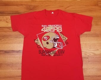 Vintage 90s 1990 Super Bowl XXIV San Francisco 49ers Champions T Shirt Screen Stars Size XL