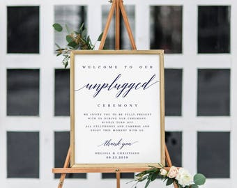 Navy Elegant Unplugged Wedding Sign Template Unplugged Ceremony Sign Modern Ceremony Sign Editable Wedding Sign