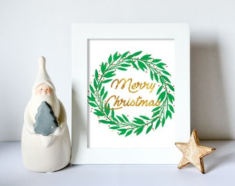 Christmas Printable Art, Merry Christmas Print, Watercolor Christmas Art, Christmas Wall Art, Christmas Print 8x10, Christmas Print Gold