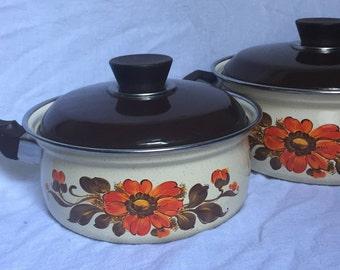 Vintage Moneta Italy Orange Flower Enamelware Pot Set