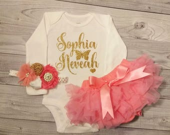 SALE Baby Girl Clothes, Newborn, Hospital Outfit, Baby Girl, Personalized, Outfit, Baby Girl Outfit, Baby Shower Gift, Name, Baby Shirt, Red