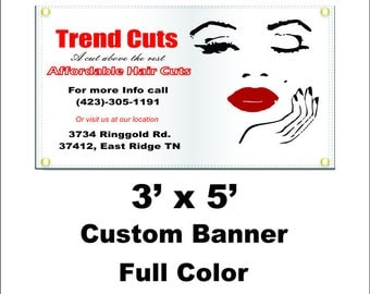 3'x5' Custom Banner Full Color===other sizes available by request===