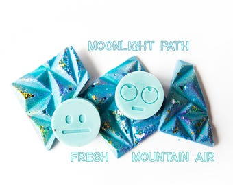 Fresh Wax Melts Sampler (5.2 Oz) Moonlight Path | Fresh Mountain Air | Hand Poured Wax Melts - Handmade Wax Melts - Emoji - Emojis - Wax