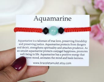 Aquamarine jewelry March birthstone bracelet Daughter bracelet Aquamarine Bracelet Energy bracelet Red string bracelet Protection bracelet