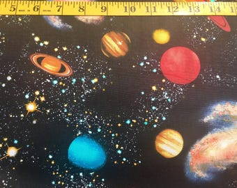 Timeless Treasures Solar System C8219 Black with Planets Stars Cotton Fabric By the Yard