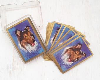 Complete Set of Vintage Lassie Dog Playing Cards in box - Collie Dog - full deck card games - swap cards - dogs #0490