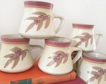 Set 6 Vintage handmade glazed pottery mugs - ceramic teacup - boho bohemian style decor home Australia - cup tea coffee - hand thrown #538
