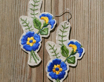 Embroidered Earrings, Embroidery Earrings, Blue Earrings, Floral Earrings, Flower Earrings