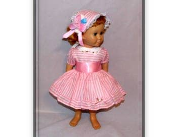 """3 Piece Set fits 20"""" Tall Talking Chatty Cathy Dolls. Dress, hair Bonnet & Bloomers. Vintage Toy Doll Clothes. Handmade in the USA."""