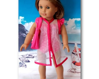 "American Girl Doll Lea is not included. Hot pink polka dot ruffled swimsuit, sheer cover-up & canvas beach bag. 18"" Doll Clothes. Beach"