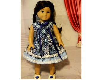"Snowflake - Blue Dress fits 18"" Dolls like American Girl and My Life Dolls.  Handmade in the USA. Clothes only, AG doll not included."