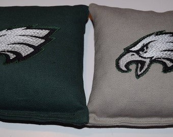 Grey and Green Eagles Embroidered Cornhole Bags Set of Eight Regulation Bags - Sweet!