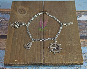 Nautical Bracelet With Heart Shape Toggle Clasp - Nautical Jewelry - Anchor Bracelet - Nautical Charm Bracelet - Beach Bracelet