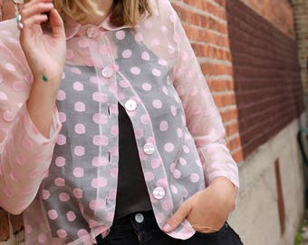 1950's Sheer Pink Button Up Top