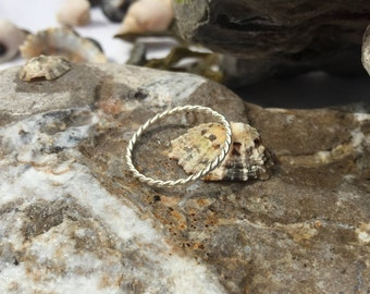 Silver twisted dainty stacking Ring - Handmade - Unique - UK seller