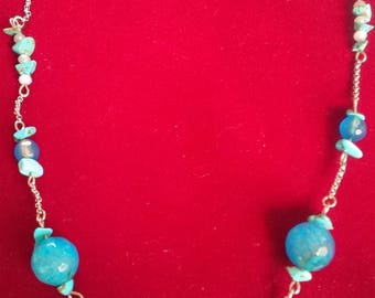 NECKLACE agate and TURQUOISE blue