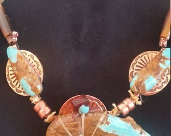Turquoise Bear Pendant / Turquoise and Copper Necklace / Western Jewelry / Native Inspired / Zuni / Kingman / Copper / Magnet / Fetish