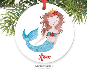 Personalized Mermaid Ornament Baby's First Christmas Ornament Baby Ornament Mermaid Girl Ornament Mermaid Baby's 1st Christmas Ornament Gift