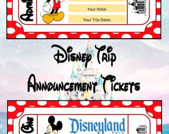 Personalised Disney Trip Announcement Tickets - Digital .pdf file