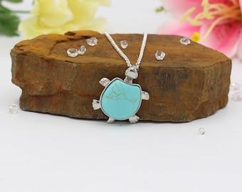 Turquoise Turtle Necklace Pendant Sea Turtle Necklace Imitation  Turquoise Pendant Necklace Silver Plated