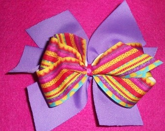 Two Layer Multicolor Stripes and Purple Hair Bow