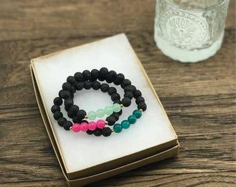 Diffuser Bracelet Set, Lava Diffuser Bracelets, Set of Three Lava Bead Bracelets, Essential Oil Diffuser Bracelets, Diffuser Bracelet Lava